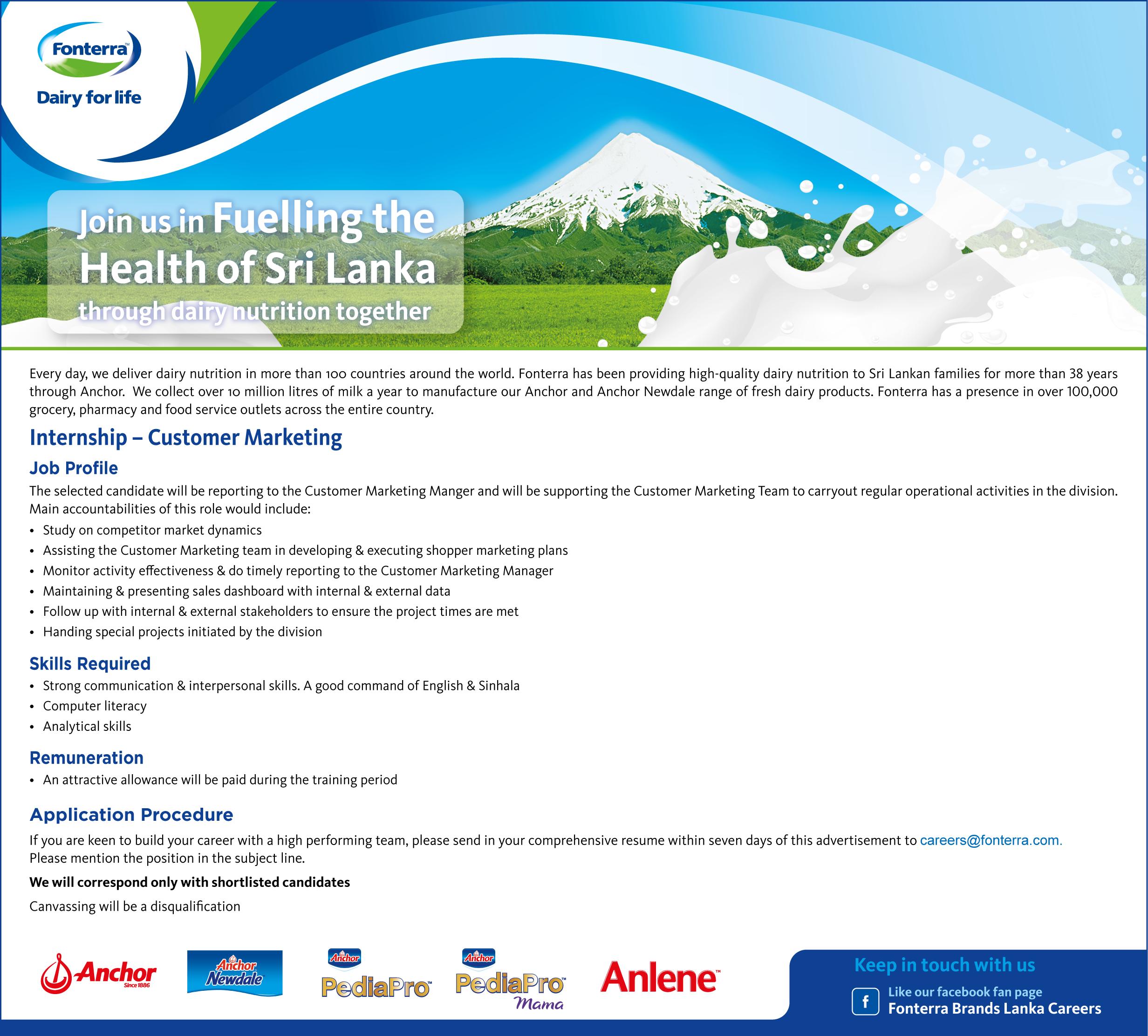 Customer Marketing Internship At Fonterra Brands Lanka Pvt