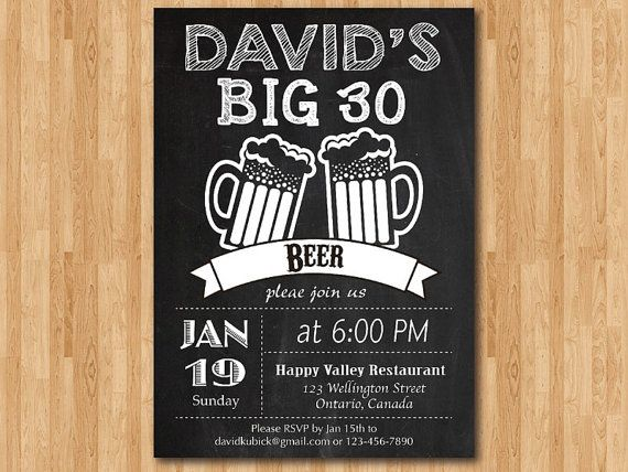 30th Birthday Invitation Beer Party Invitations Chalkboard 40th 50th 60th For Men