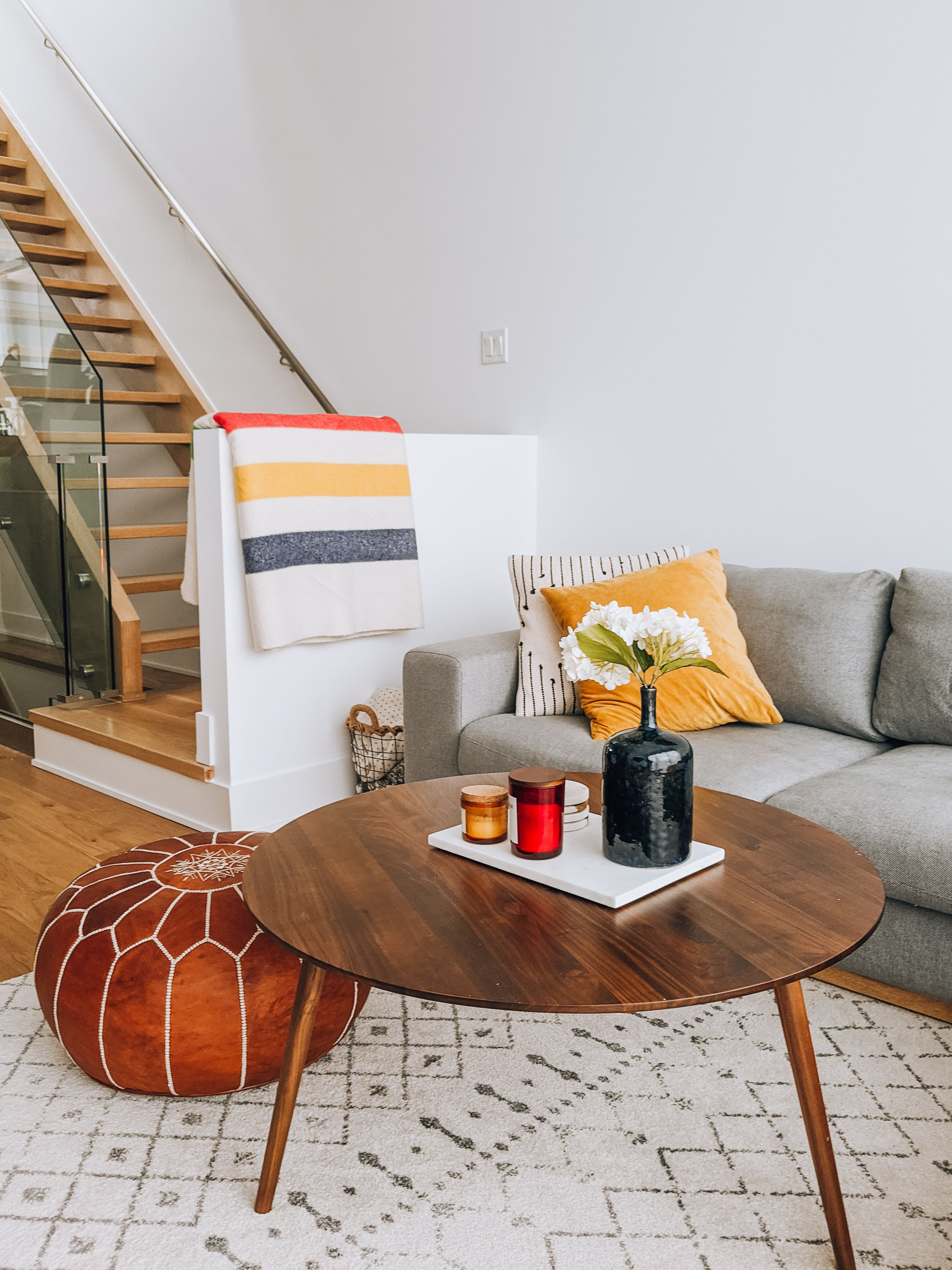 Mid Century Modern Wooden Coffee Table And Brown Leather Moroccan Ottoman Coffee Table Living Room Modern Rugs In Living Room Modern Furniture Living Room [ 3758 x 2818 Pixel ]