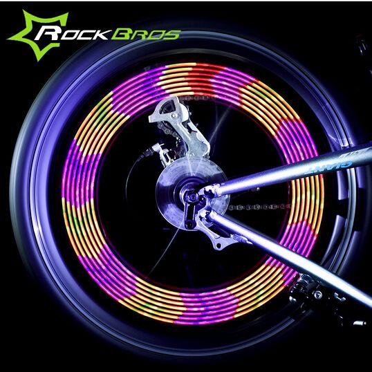 Colorful 14 LED Bike Cycling Bicycle Wheel Signal Tire Spoke Light 30 Changes