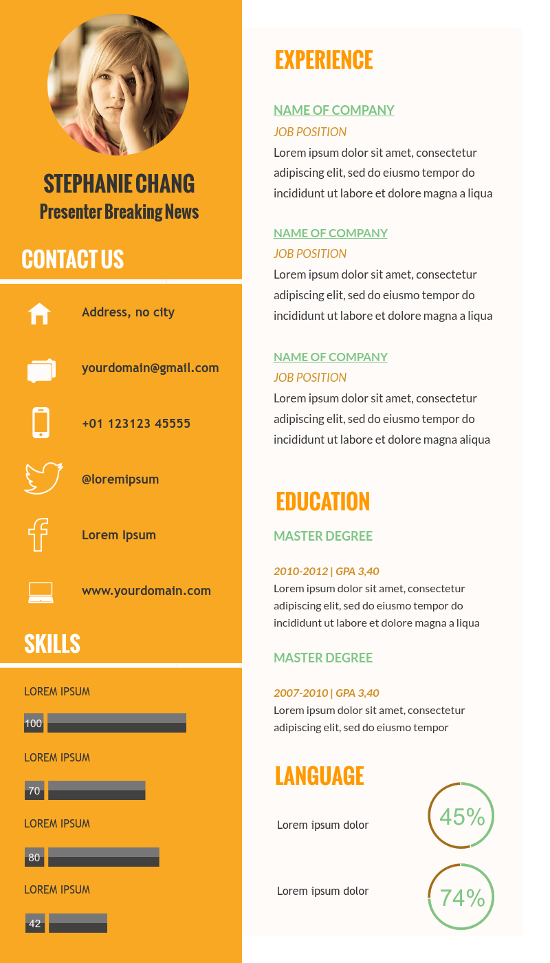 Creative Resume Template Available In Visme  Infographic Resume