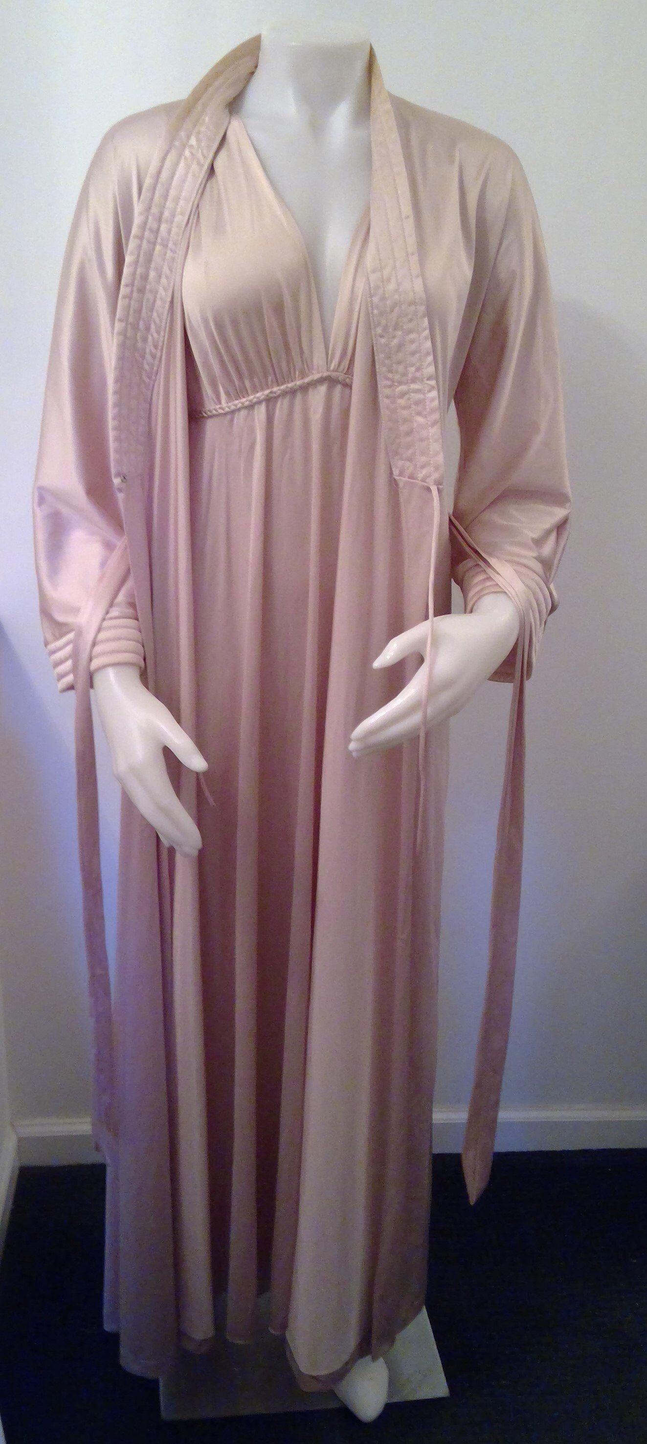 Vintage pink nightgown sheer peignoir set two peice   Etsy