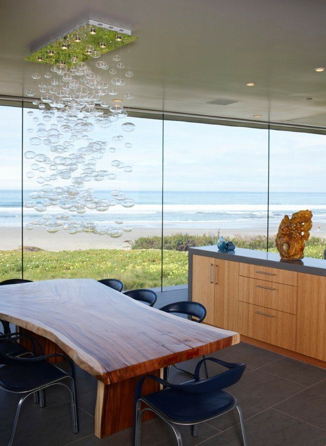 Holztisch Lederstühle moderne Pendelleuchte Holz Pinterest