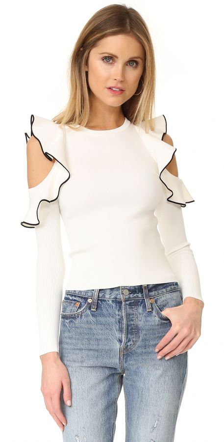 3039451eb1542c The Price of Pretty s Pick for the ShopBop Sales Event17 - Whistles Tipped  Detail Cold Shoulder Top