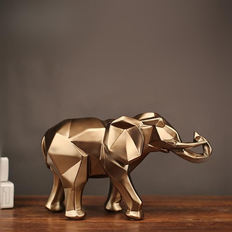 Modern Abstract Golden Elephant Statue Resin Ornament Home Decoration Accessories Gifts Elephant Sculptu Elephant Home Decor Elephant Statue Elephant Sculpture