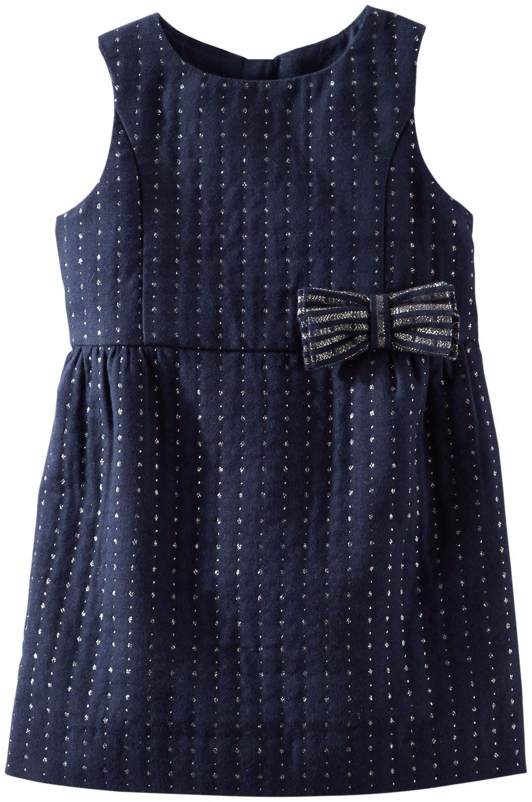 Navy Woven Baby Dress from OshKosh B'gosh --Sleeveless dress includes separate diaper cover. Allover tiny polka dots with shimmer threads for a festive look. Zip back. Detailed with bow at the waist.