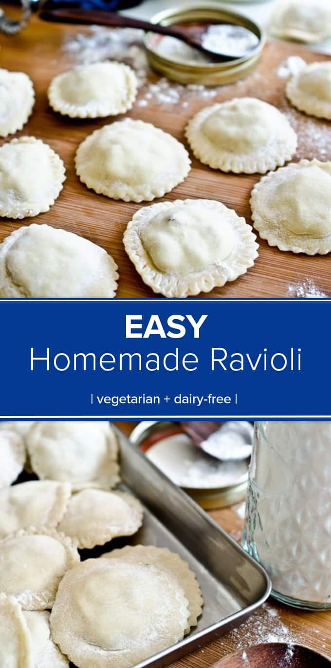 This delicious Homemade Ravioli recipe is easier than you might think, and so much tastier than any pasta you can buy in a store. Plus you don't even need a pasta maker! #theendlessmeal #ravioli #pasta #homemadepasta #easyravioli #dinner #vegetarian #meatlessmonday #dairyfree