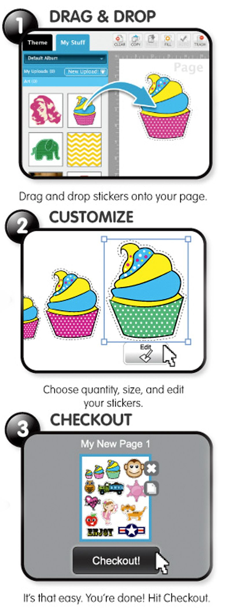 Create your own stickers using these 3 easy steps the sticker maker on www stickeryou com is fun for everyone