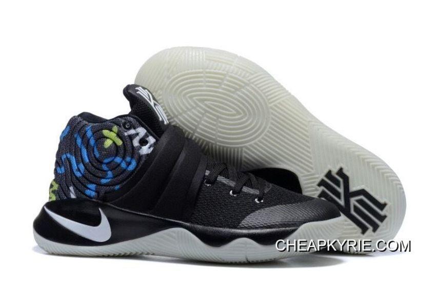 online store 5adf4 03c44 Nike Kyrie 2 Black White Blue Men s Basketball Shoes Offres De Noël, Prix    - Remise Chaussures Originales
