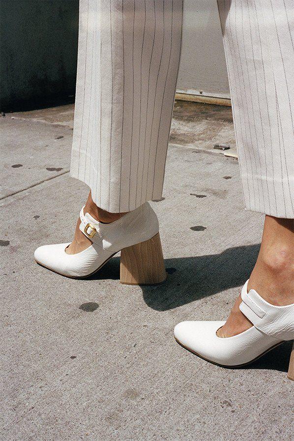 Mary jane heel, natural white