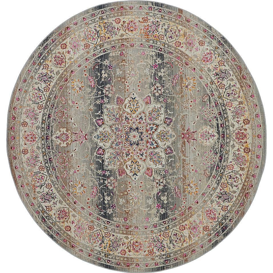 Nourison Vintage Kashan Oriental 6' Round Area Rug In Grey