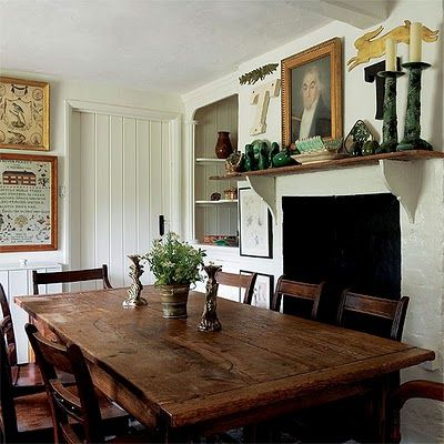 Rustic Kitchen Table In Front Of Fireplace