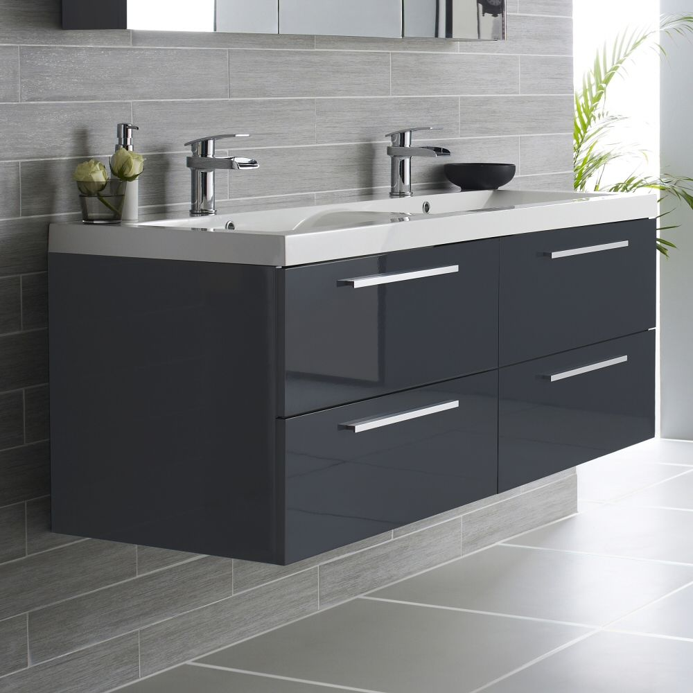 Vanity Unit And Double Basin High Gloss
