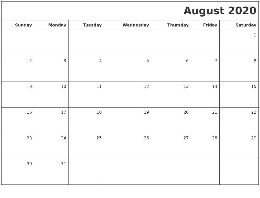 Free Printable August 2020 Calendar.November 2020 Print A Calendar 2020 Calendars Free Printable