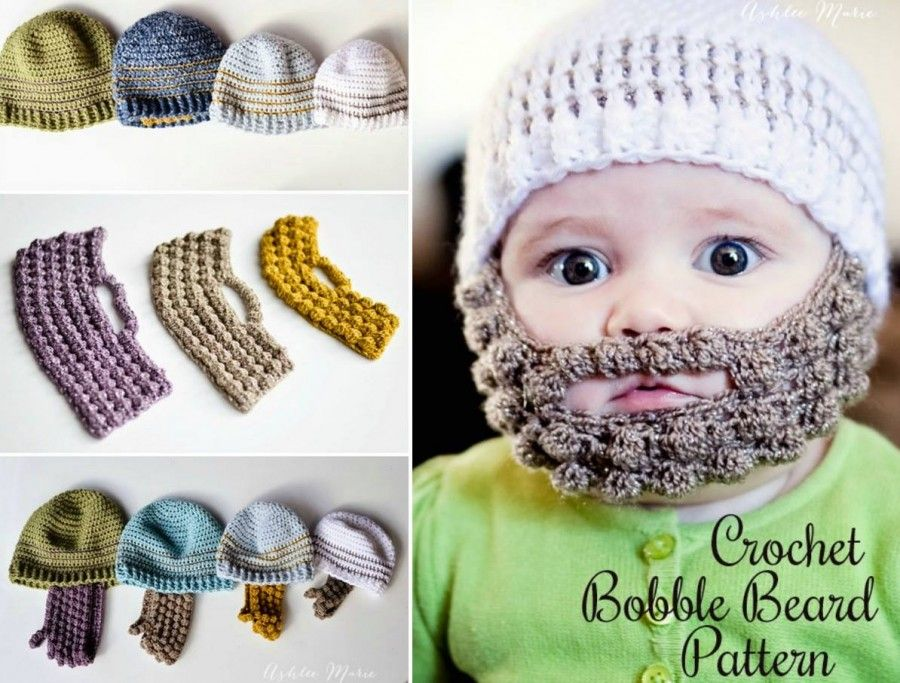 Bobble Beard Crochet Hat Pattern Easy Video Instructions | Pinterest