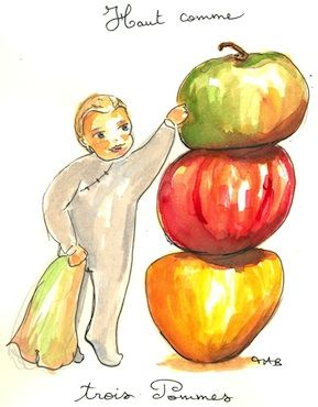 """[Edible Idiom] Haut comme trois pommes """"high as three apples,"""" it is used to point out that someone -- often a child -- is small or very short. I've seen it translated to """"knee-high to a grasshopper.""""  Example: """"Il était haut comme trois pommes et devait courir pour rattraper ses soeurs."""" (He was high as three apples and had to run to catch up with his sisters.) Thanks to chocolateandzucchini.com"""