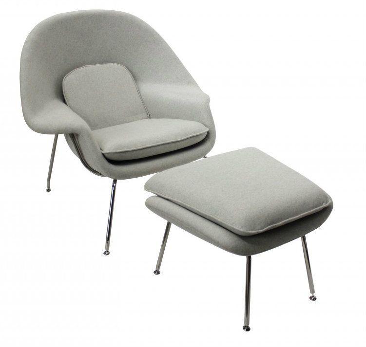 Eero saarinen replica womb chair and ottoman light grey