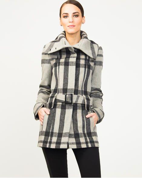 Manteau à carreaux en mélange de laine