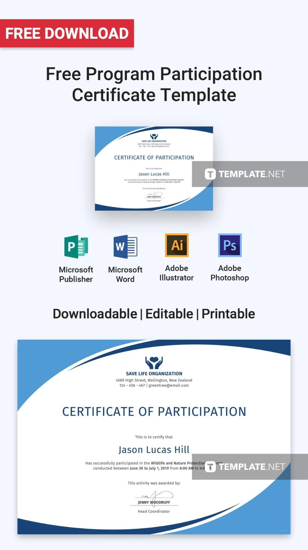 Free Program Participation Certificate Certificate Templates With Regar Certificate Templates Certificate Design Template Certificate Of Participation Template