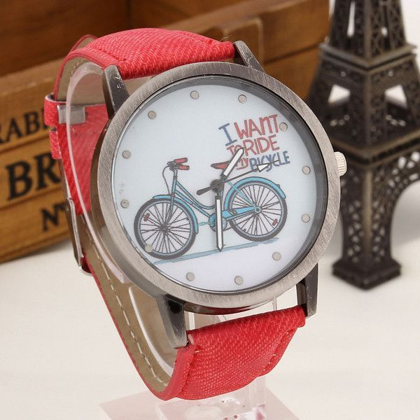bicyle item watches women girls design cat leather tower bike eiffel watch party wholesale dress fashion ladies wholeale