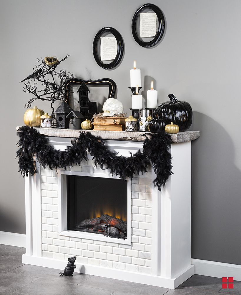 Transform your rustic fireplace mantel into a creepy
