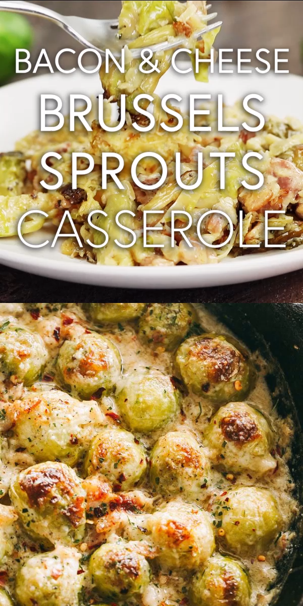 Creamy Cheesy Brussels Sprouts with Bacon – Roasted brussels sprouts with crispy bacon baked in a creamy cheese sauce. SO GOOD!!  #brusselssprouts #bacon #cheese #ketorecipes #brusselsproutrecipes