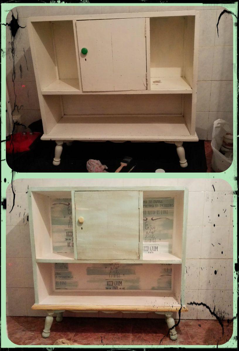 Con Pintura Efecto Tiza Papel Pintado Y Nogalina Se Pueden Crear  # Muebles Tuneados