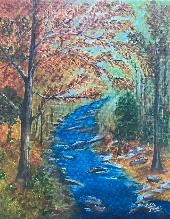River Painting River Bend In Autumn By Judy Jones Fall Artwork Art Canvas Prints