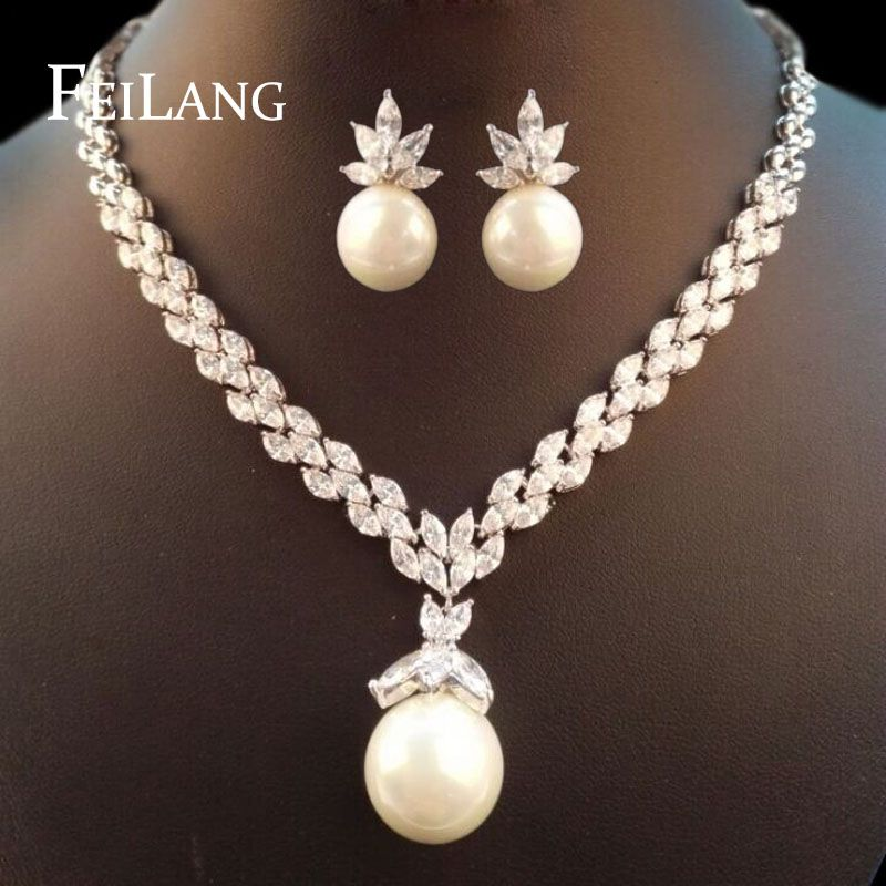 ZAKOL New Luxury Romantic Design CZ Diamond Imitation Pearl ...