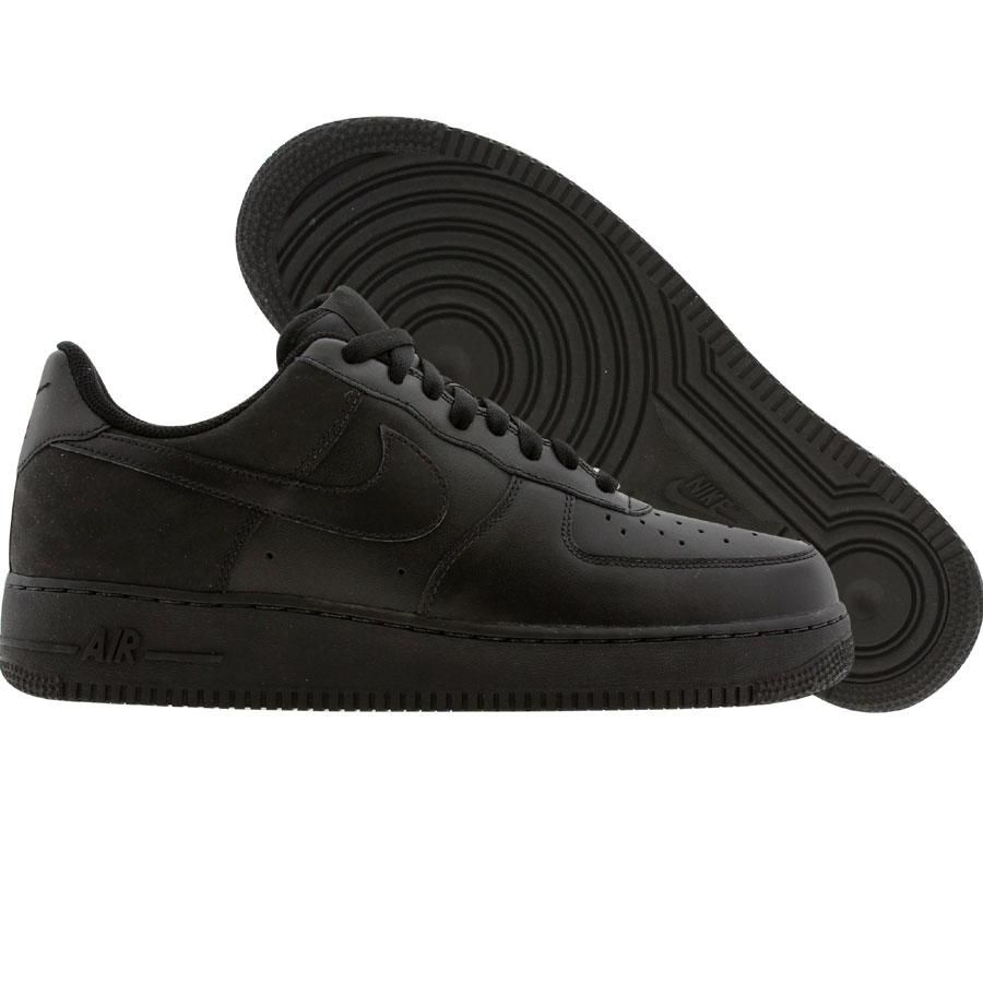 ... Nike Womens Air Force 1 07 Low (black / black / black nubuck) 315115 ...