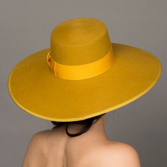 Mustard Yellow Hat Bolero Hat 5 Wide Brim Felt Hat Wide Brim Felt Hat Outfits With Hats Fancy Hats