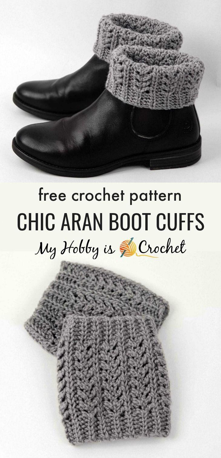 Chic Aran Boot Cuffs/ Toppers - Free Crochet Pattern #crochetyarn