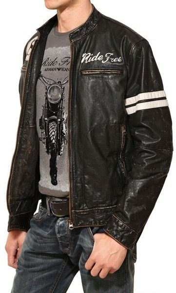 ed57dcc1b74 Men's Black Vintage Leather Biker Jacket | THINGS TO WEAR! | Armani ...