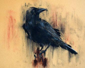 Original Raven Drawing Charcoal Black and White Art Halloween
