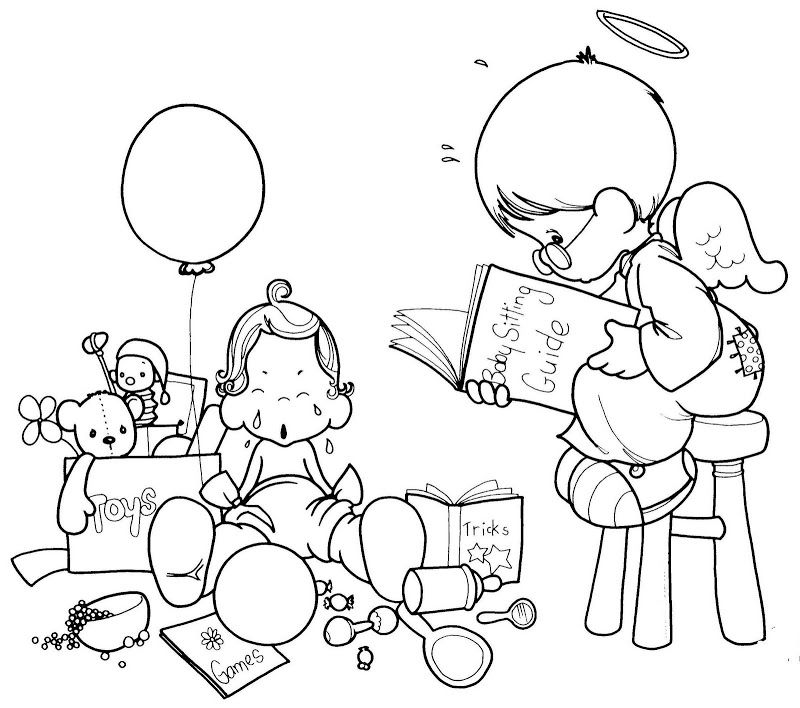 Guardia angel reading a book - precious moments free coloring pages ...