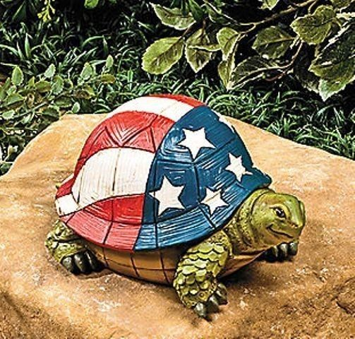 Patriotic Red White And Blue Stars And Stripes Turtle Garden Statue Yard  Decor * | EBay