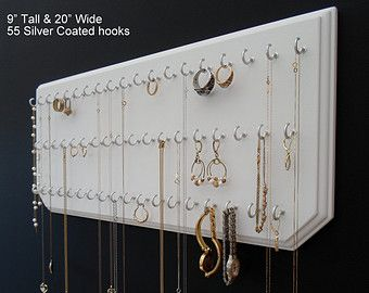 9x20White 55Silver Jewelry Organizer Wall Necklace Holder with 55