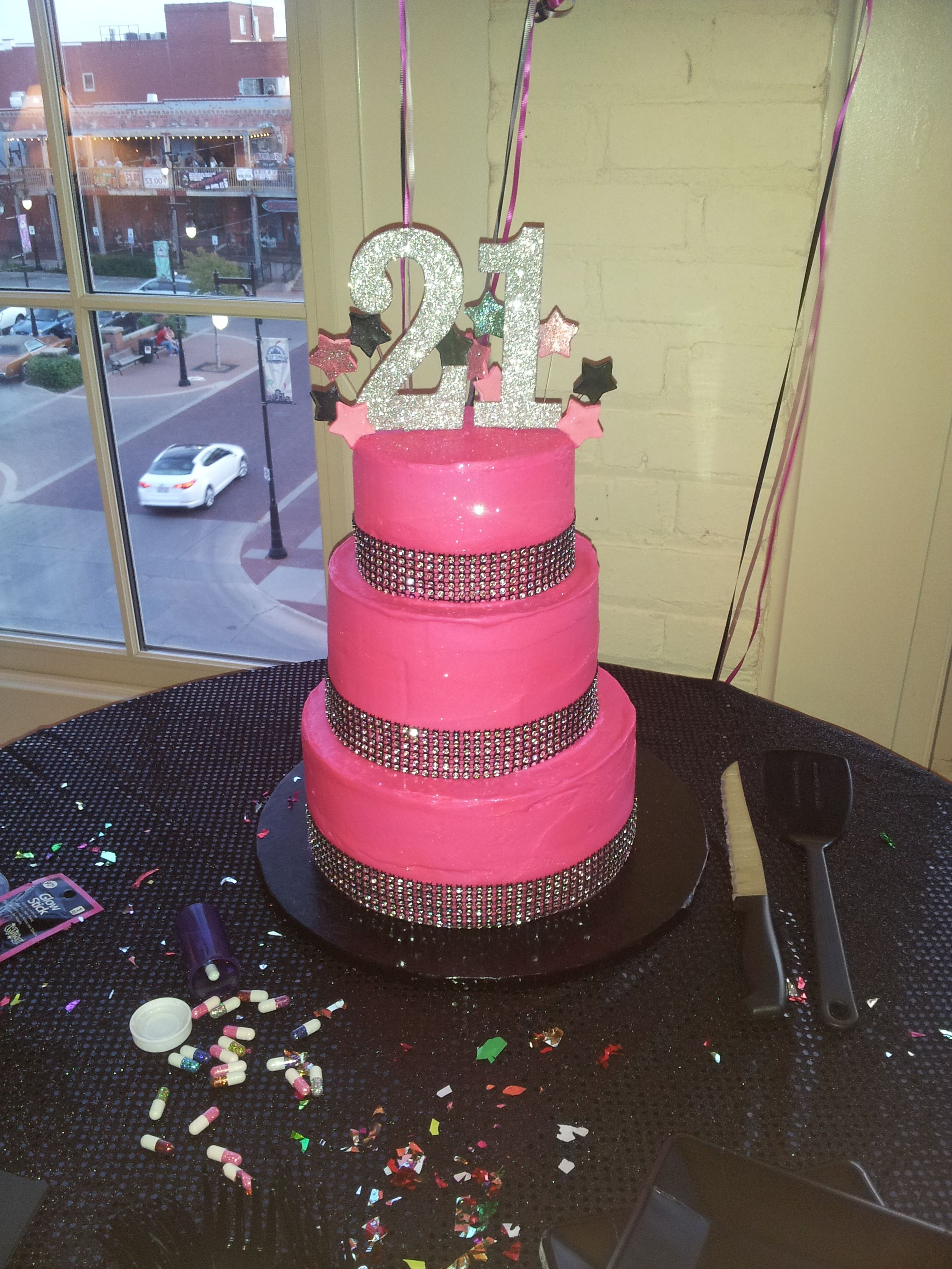 Outstanding 21S Birthday Party Tiered Hot Pink Silver And Black Glitter Cake Funny Birthday Cards Online Amentibdeldamsfinfo