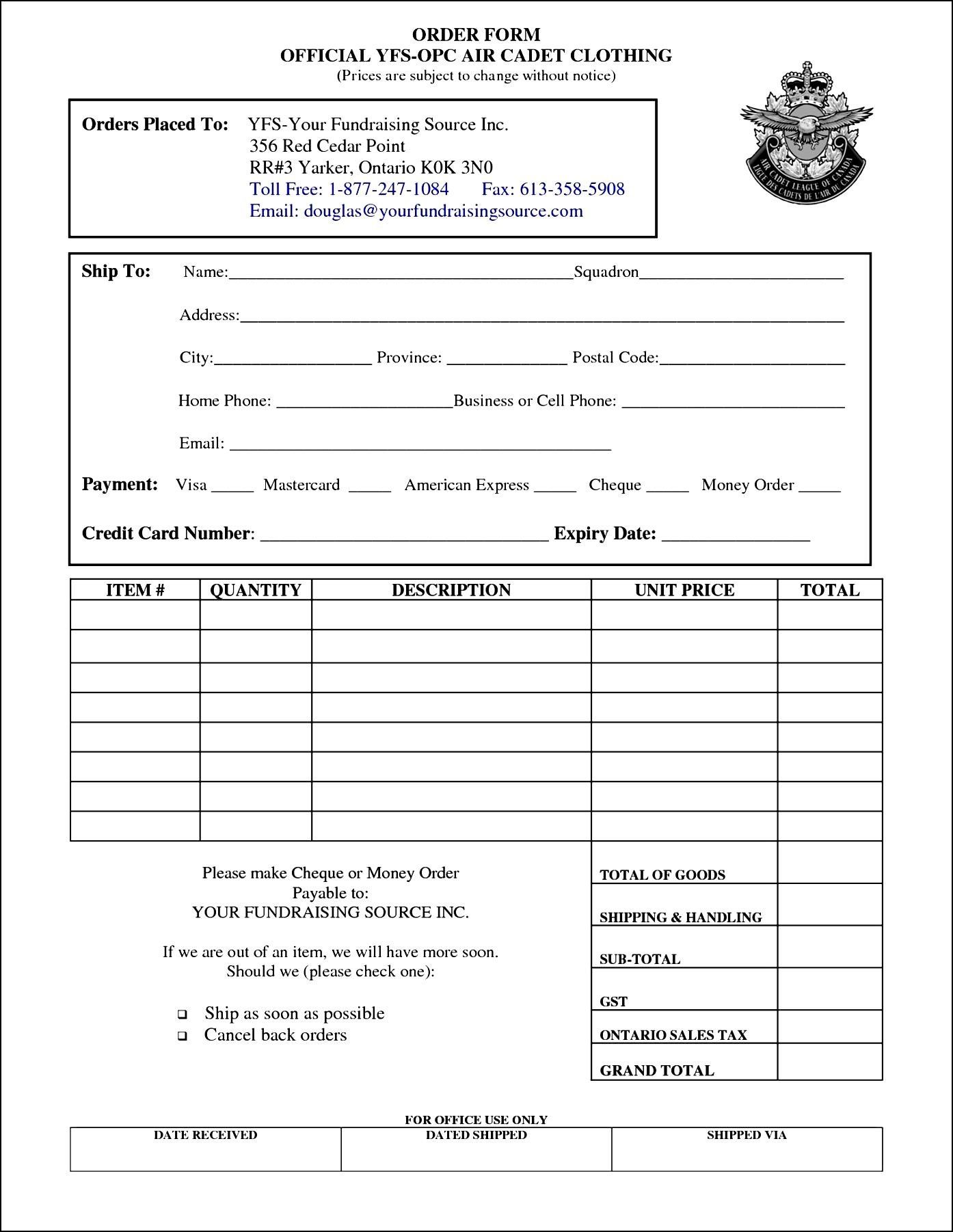 sample order forms template