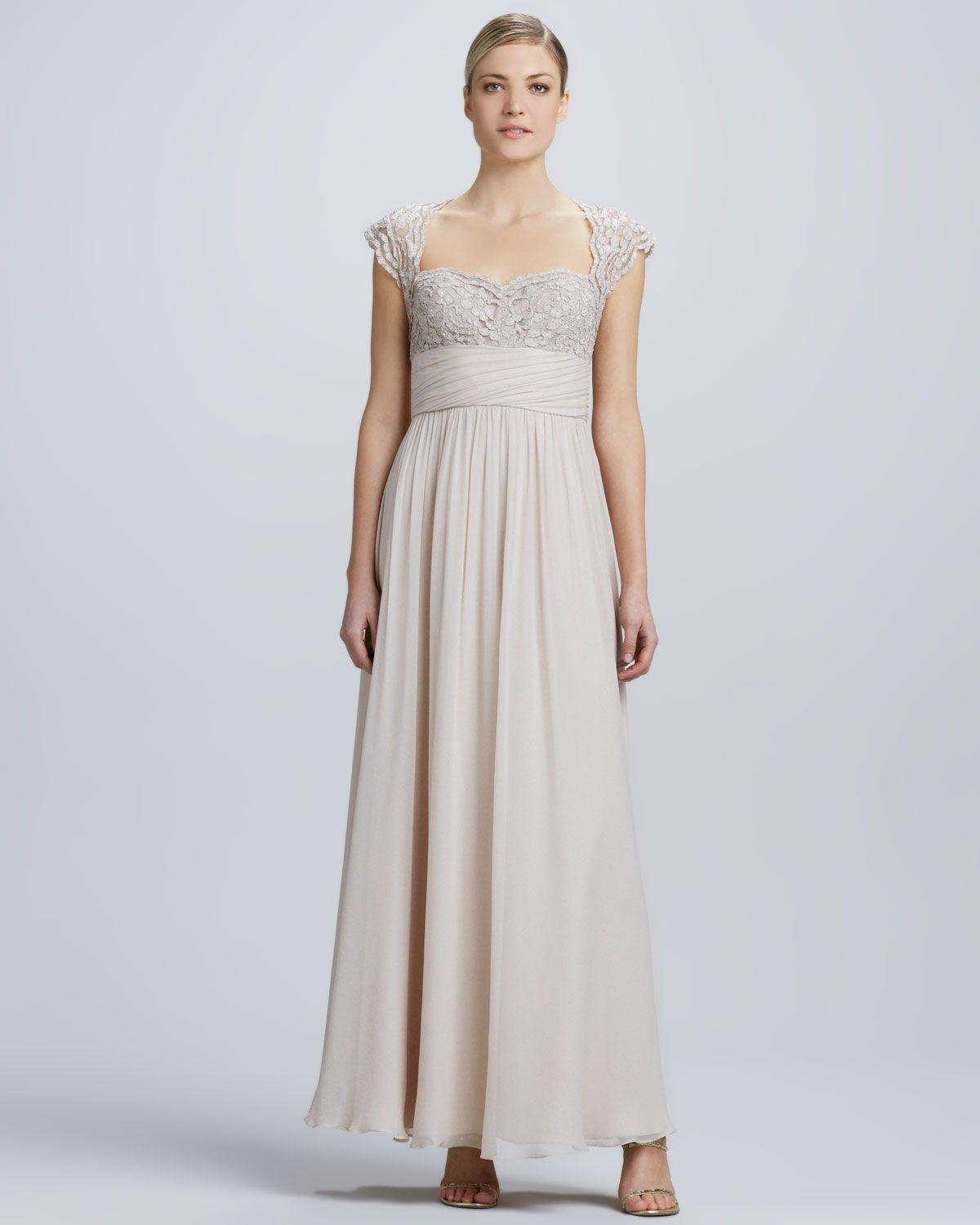 Aidan mattox lace chiffon cap sleeve gown dress is my weakness strapless chiffon high slit gown by aidan mattox at neiman marcus ombrellifo Image collections