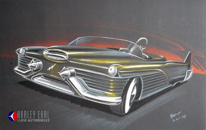 An early Le Sabre concept rendering showing car's pronounced fishtail design that cast its shadow on all cars with tail fins to follow in the 50s and 60s!
