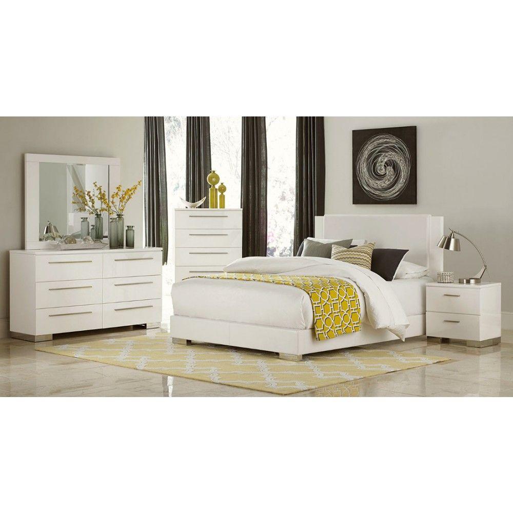 Homelegance Linnea Bedroom Set in White High Gloss Finish Fabulous