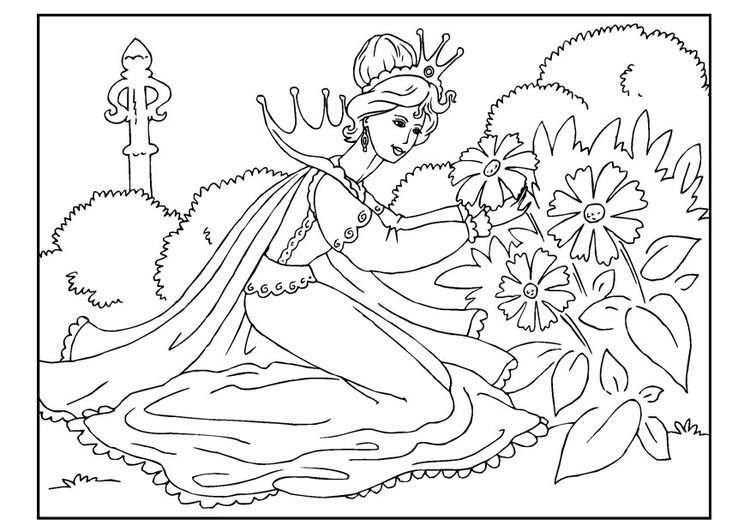 Coloring page princess picks flowers | Kleurplaat | Pinterest