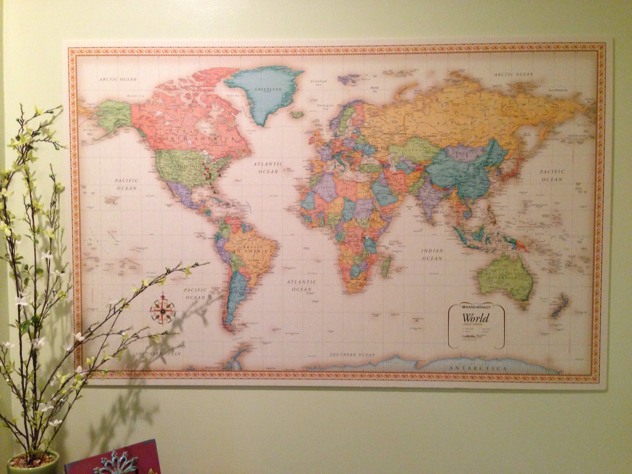 World map decor for keeping track of everywhere ive traveled map diy framed world map with pins hamonious at besttabletfor gumiabroncs Choice Image