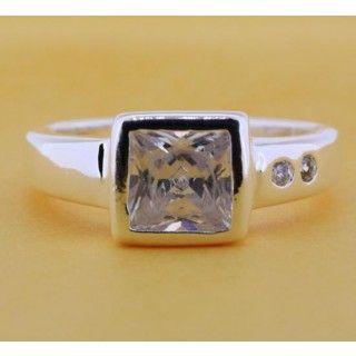 Elegant 925 Sterling Silver Crystal Square Ring