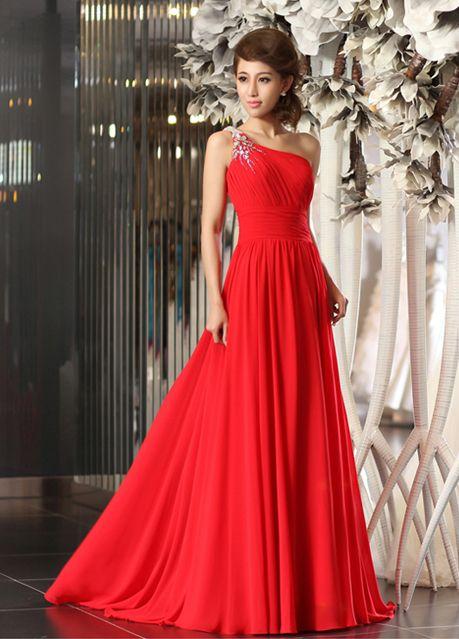25dfd2c1239 stunning one shoulder pleated chiffon dress with beading A-line/Princess,  Floor Length, One Shoulder, Natural, Sleeveless, Beading, Pleats, Zipper,  Chiffon, ...