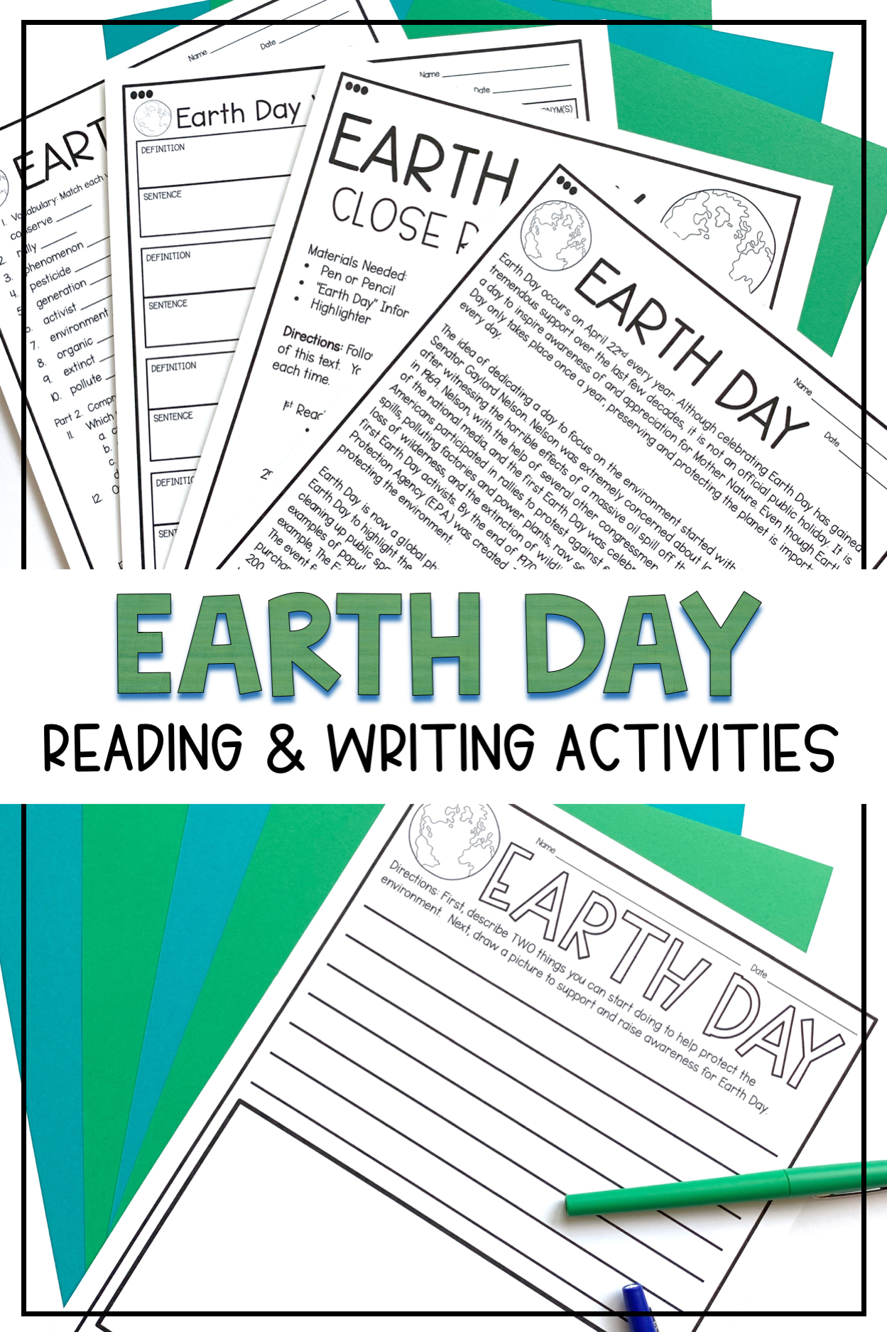 Earth Day Reading Comprehension And Activities