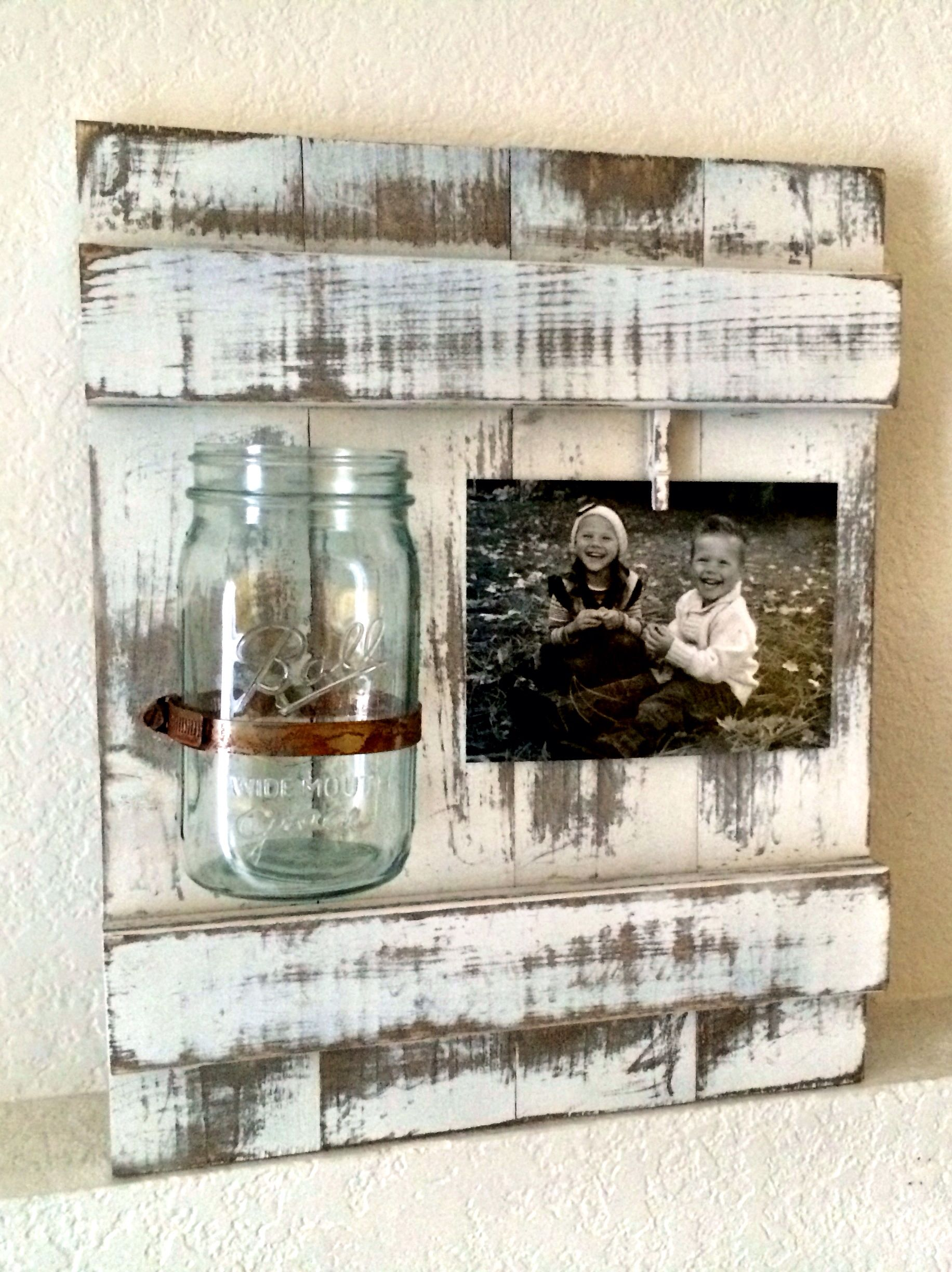 distressed wood frame with mason jar vase this is the