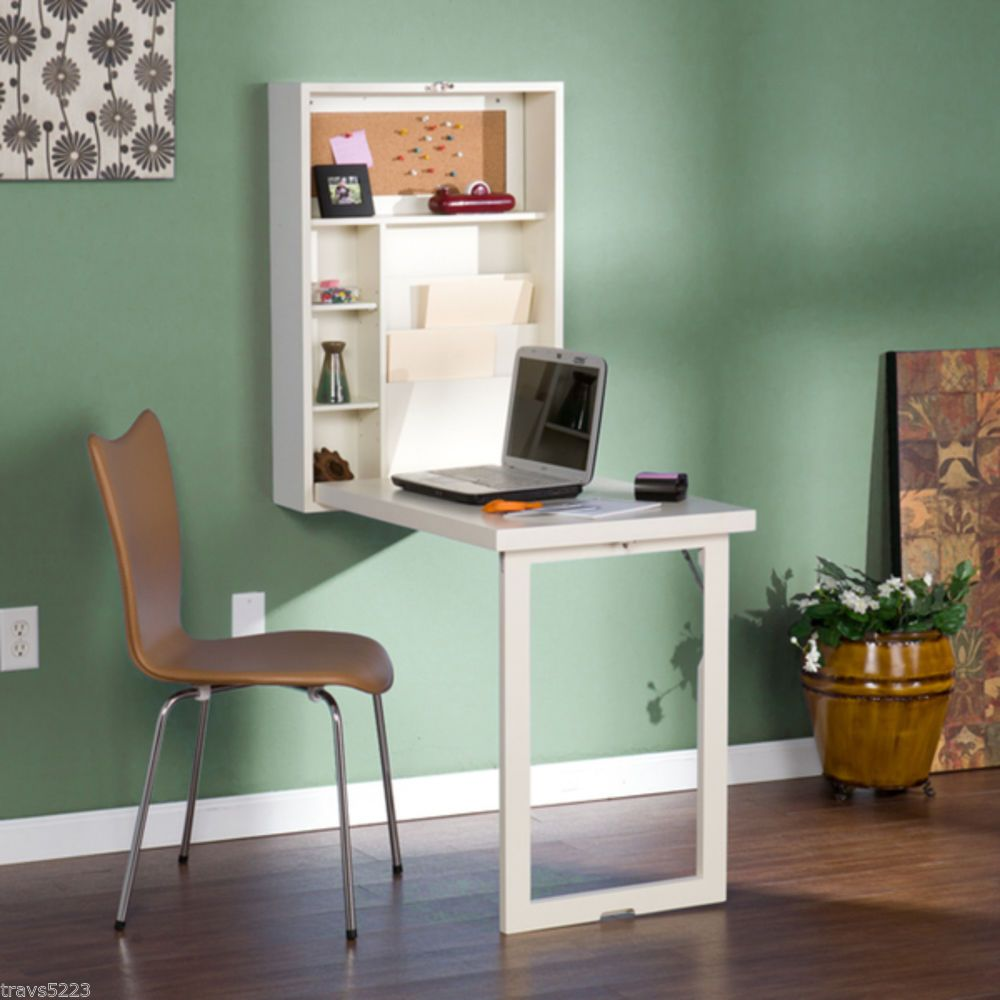 Murphy Winter White Fold Out Convertible Desk Student College Study Small Es