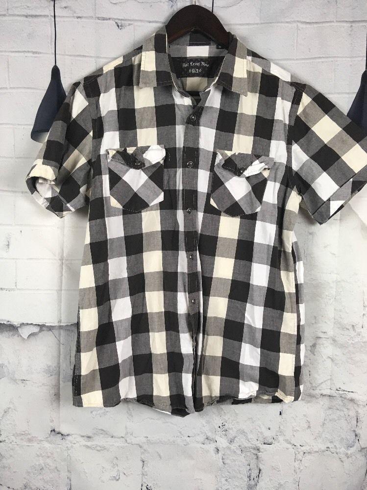 bd1b3b16c3f Red Level Nine RL9 Medium Black White Checkered Button Down Short Sleeve  614177  RedLevel9  ButtonFront